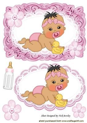 Crawling baby girl with her bottle card lace topper on Craftsuprint - Add To Basket!