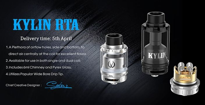 [Pre-Order]     Instructions:    The Kylin RTA features a top-fill system, adjustable airflow, juice flow control, a 6mL conversion kit, and a spectacularly unique build deck. Constructed out of stainless steel with a glass tank section, the Kylin can be increased in volume with the included tank conversion kit to keep you vaping longer in between tank refills. Adjustable airflow is located at the base of the unit and features a knurled ring for an easier grip and less slippage. The unique…