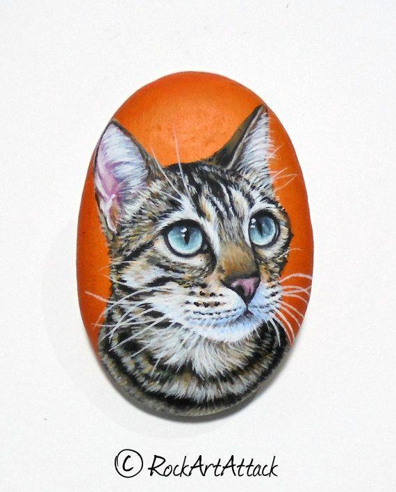Pretty Cat Portrait miniature Painting on small Flat  pebble by RockArtAttack!