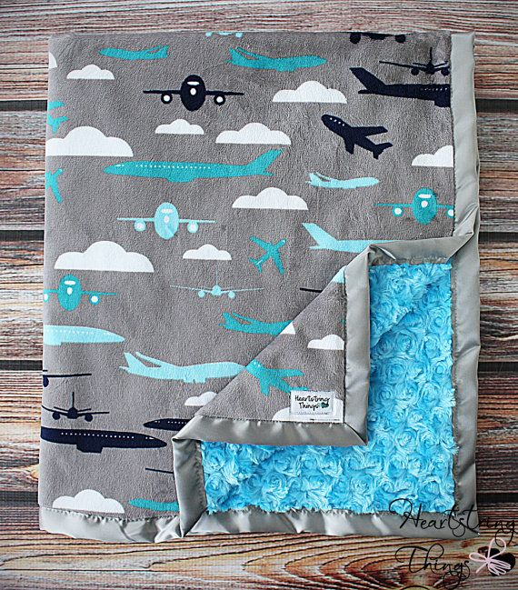 Baby Minky Aviator Blanket Airplane Blanket by HeartstringThings, $40.00