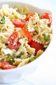 A light pasta salad with lemon basil dressing is always a great side dish or lunch meal! @JulieBlanner
