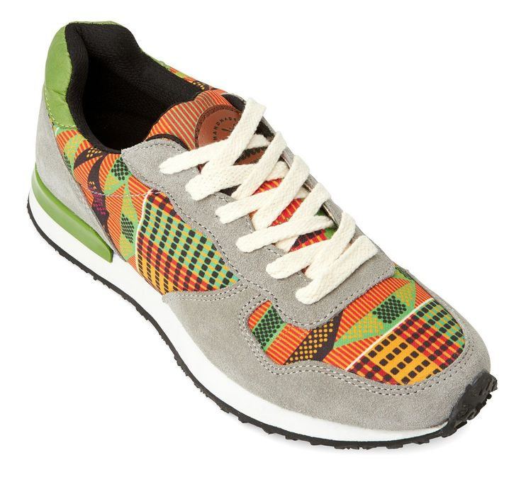 Inkkas green and orange Kente Joggers Running Shoes