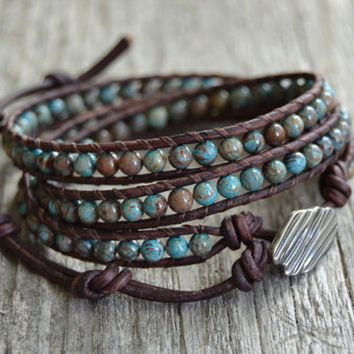 Chan Luu Inspired Beaded Leather Bracelet Boho Chic Turquoise Blue And Brown Triple Wrap Jewelry It S A Bracelets