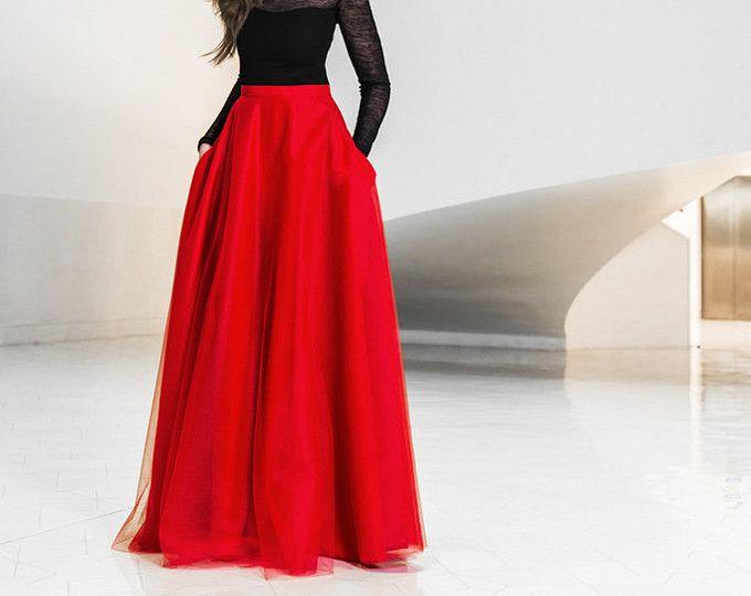 Falda de tul Maxi con bolsillos, falda de tul, falda roja, falda maxi roja, Nochevieja, falda de baile, elegante, vestido de fiesta
