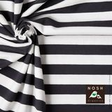Organic cotton Jersey 2+2cm Stripes Graphite/ Natural