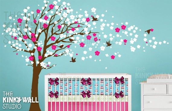 Cherry Blossom Tree Wall Decal , Baby, nursery wall decals Wall Sticker, Home decor, wall decor on Etsy, $128.00