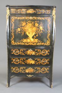 """A Louis XV style ebonised secretaire a'abatant, gilt metal mounted with female terms and decorated throughout with floral marquetry. Fitted frieze drawer above a fall with mirrored interior above a further 3 long drawers on splayed legs, late 20th Century, 60""""h x 40""""w SOLD £600"""