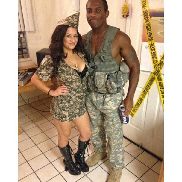 Pin for Later: 60 Sexy Halloween Couples Costume Ideas Sexy Soldiers No shirt? No problem.