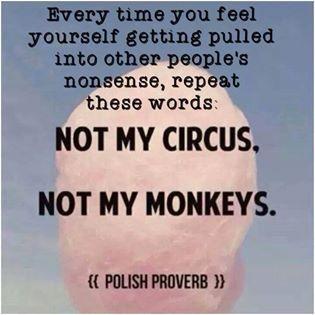 avoid other people's nonsense. Not my circus. Not my monkeys