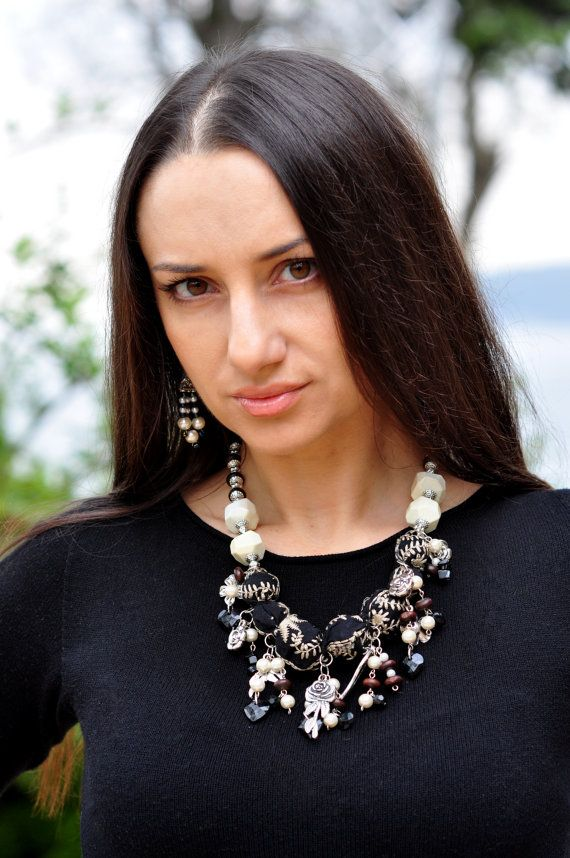 Ожерелье boho черный ткань бусины ожерелье boho ткань Monpasier