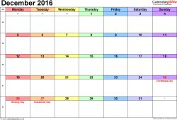 Calendar December 2016, landscape orientation, 1 page, with UK bank holidays and week numbers
