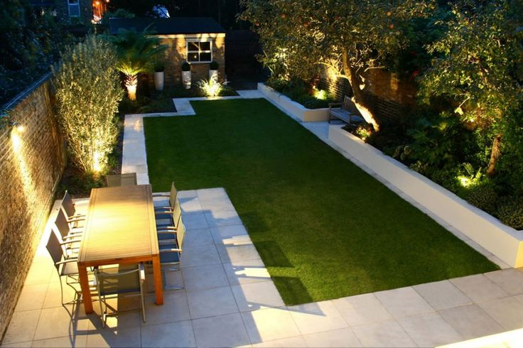 Minimalist Garden Design. Sometimes less is more! Invest in lighting, the clean feel and manicured lawn make it look up scale! Create value!
