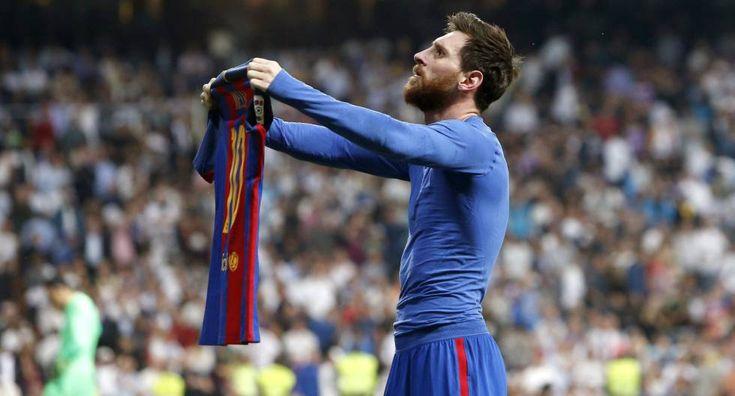 Messi celebra el tercer gol del Barcelona.