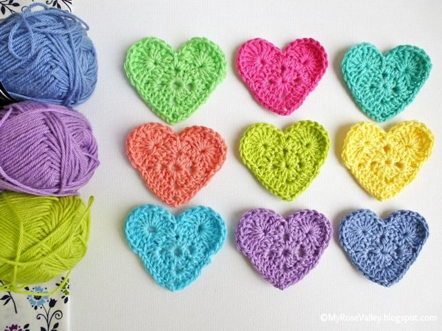 My Rose Valley: Sweet Heart Crochet Pattern. ☀CQ #crochet #crafts #DIY.