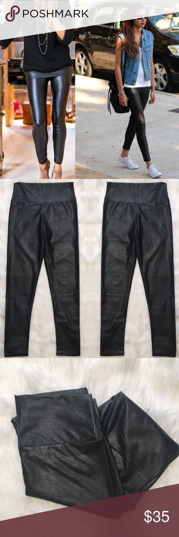 Liquid Leggings The leather look while being eco friendly. Fleece lined. Worn once and just decided they weren't my stile. In excellent used condition. Measurements only by request. Very Stretchy! jon & anna Pants Leggings