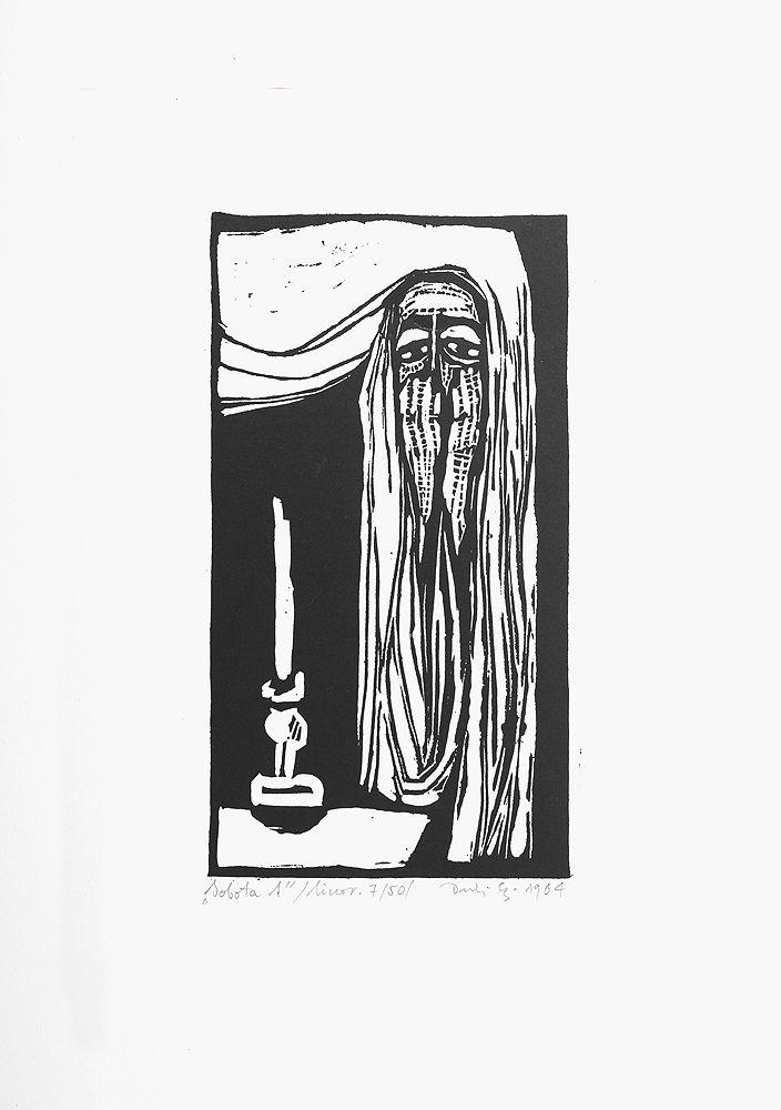 Jerzy Duda Gracz | SOBOTA 1, Z CYKLU JUDAICA, 1964 | linoryt, papier | 15.5 x 8.3 cm