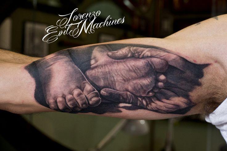 Father and son - Padre e figlio - Realistic Tattoo by Lorenzo Evil Machines - Roma - tatuaggi realistici e ritratti 3D animali -
