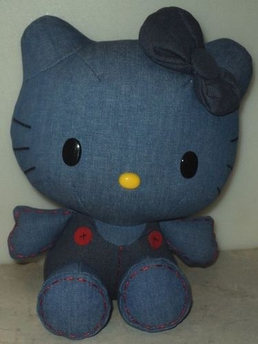 Hello Kitty Blue Denim 2010 Sanrio Plush Stuffed Animal Jakks Kittie Cat ~ This Item is for sale at LB General Store stores.ebay.com/... ~Free Domestic Shipping ~