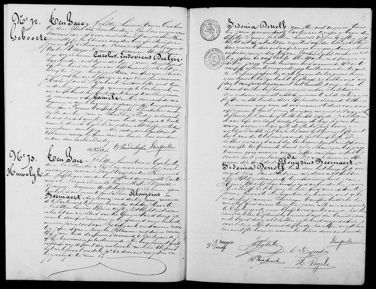 Huwelijksakte Beernaert Aloysius & Denolf Sidonia - sosa 16 & 17 (bron - sosa 1 = Dominique & Emmelien Beernaert -> tweeling)