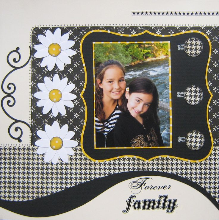 """Forever Family"" scrapbook page layout. Love the colors...black, white, and a…"