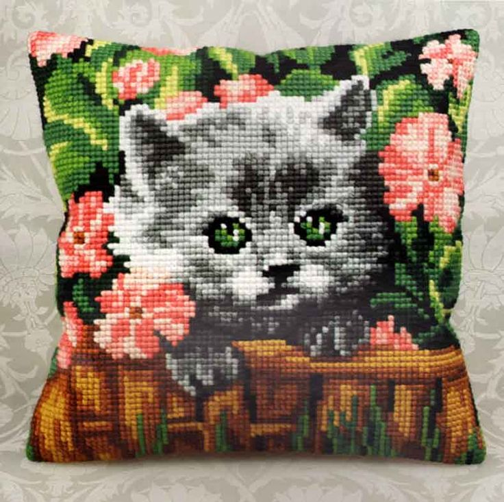 "Cross Stitch Kit   MINOU 16"" x 16"" Pillow Cover"