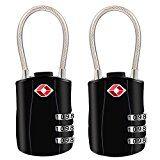 #3: TSA Luggage Locks [2018 Newest Version][2 Packs]Diyife 3-Digit Security Padlock Combination Padlocks Code Lock for Travel Suitcases Luggage Bag Case etc.(Black) #movers #shakers #amazon #electronics #photo