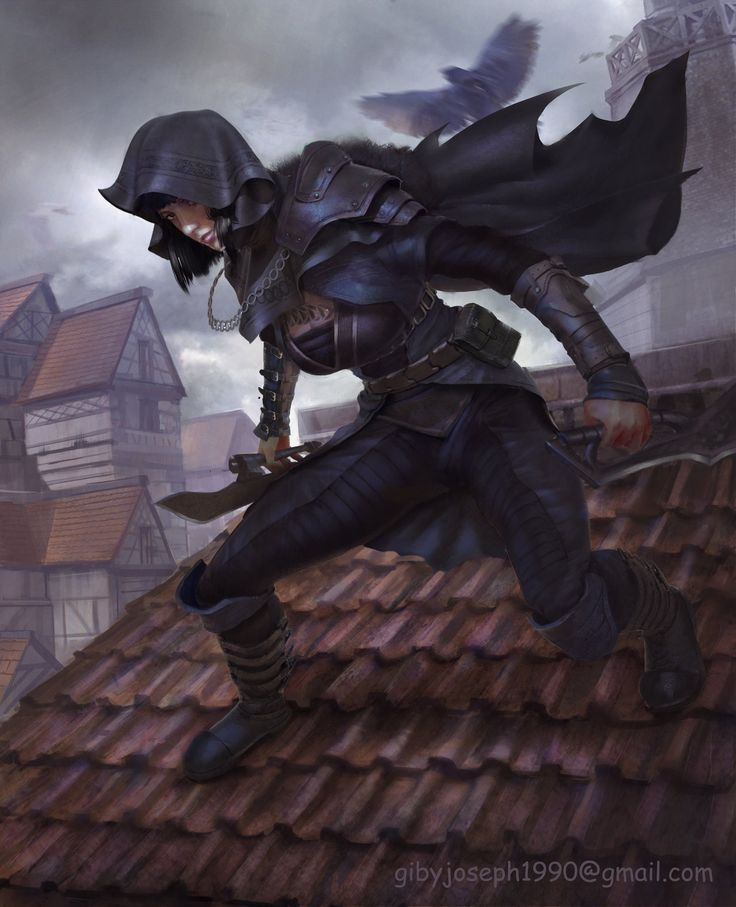 Stealthy woman assassin creeping over the rooftops.