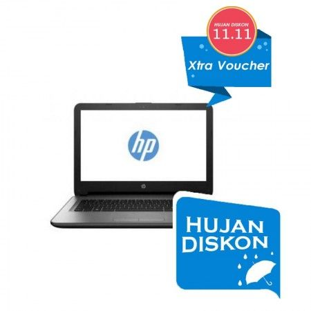 "HP 14-am008tu Silver - Hujan Diskon  Write a review New Model & Processors !!!  Intel Celeron Dual Core N3060 1.6GHz Up to 2.48GHz, RAM 2GB, HDD 500GB, DVD/RW, VGA Intel HD Graphics, Screen 14"", Dos Kode Voucher : HD1111 Ekstra Diskon Rp. 110.000  *Voucher hanya bisa digunakan di produk pilihan berlogo Xtra Diskon  See More Product At http://kliknklik.com/ or http://kliknklik.com/1108-hujan-diskon/ and http://kliknklik.com/blogs/harga-notebook-terupdate/"