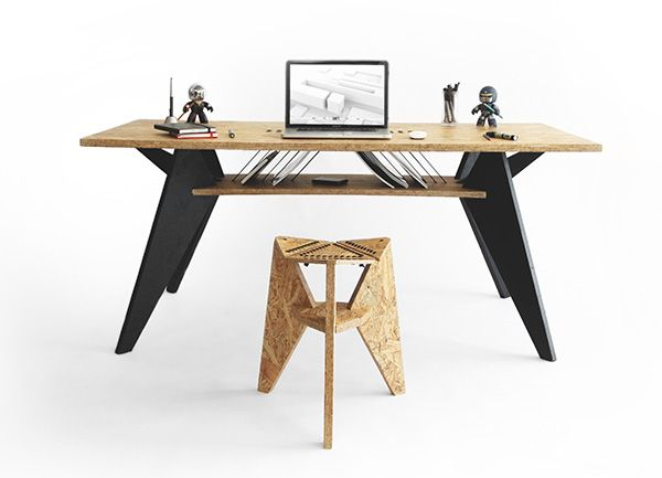 Viva Desk by SHIFT - The Viva Desk merges computerized manufacturing with artisanry to make the most of its eco-friendly materials. Read more at http://www.yankodesign.com/2014/01/31/osbeautiful-desk/#c4DyakPhZE5WYzMQ.99