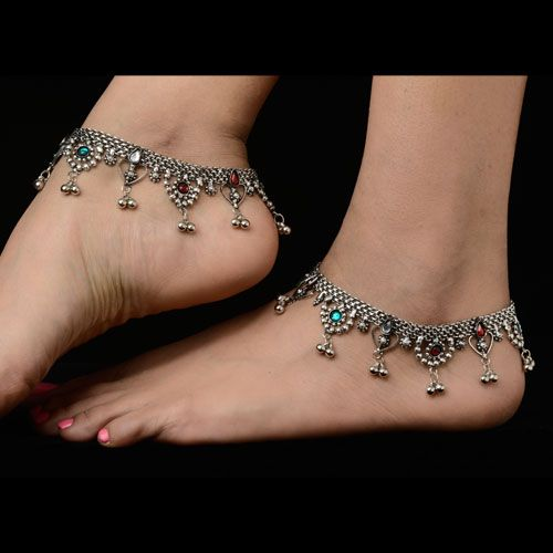 Stylish Silver Oxidized Anklets. IndianAnklet. Gorgeous.