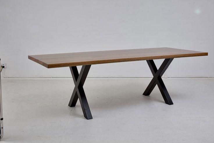 Loughlin Furniture X Table Black Legs Blackbutt Timber