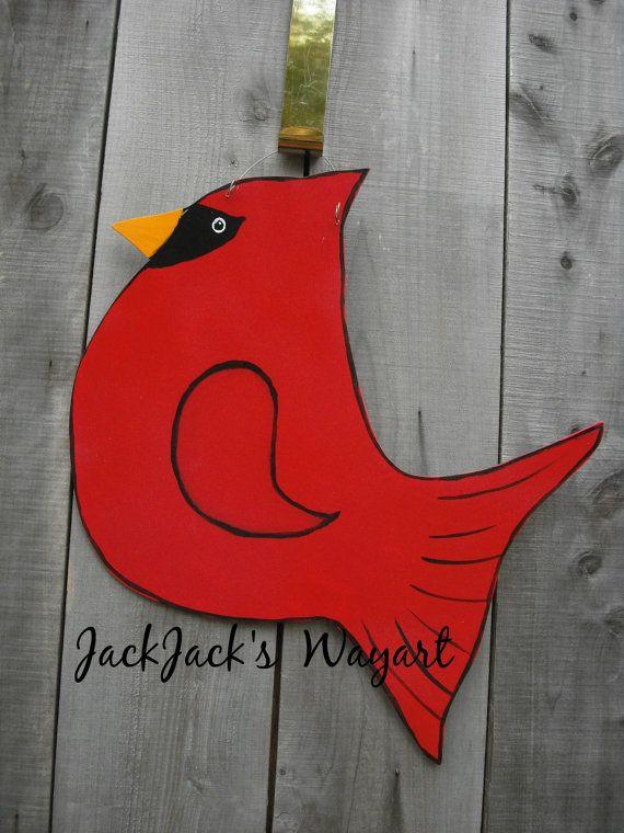 Cardinal bird door hangerRed bird door by JackJacksWayart on Etsy & 142 best Bird Door Hangers images on Pinterest | Wooden door ... Pezcame.Com