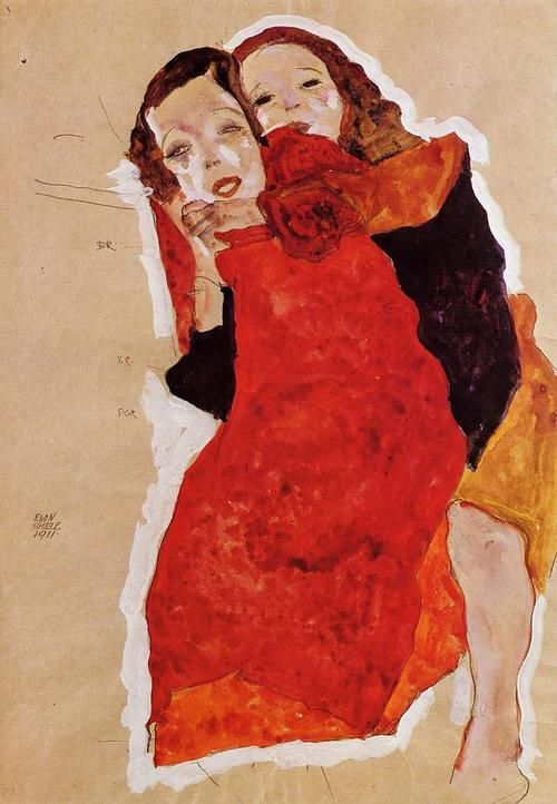 Two Girls. Egon Schiele. 1911. Egon Schiele✖️ART And Ideas➕More Pins Like This At FOSTERGINGER @ Pinterest ➖