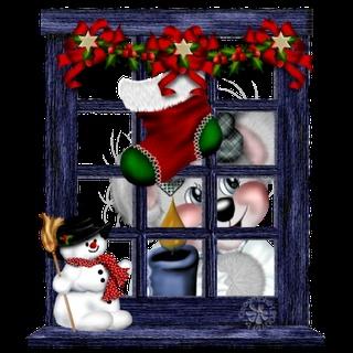 christmas window bear