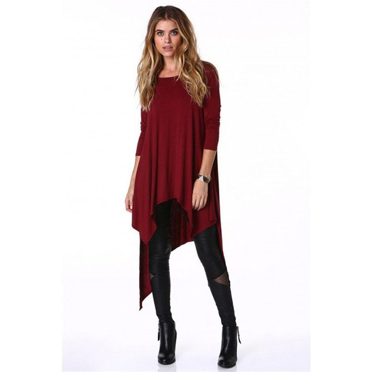 Long Sleeve Maxi T-Shirt - Wine Red