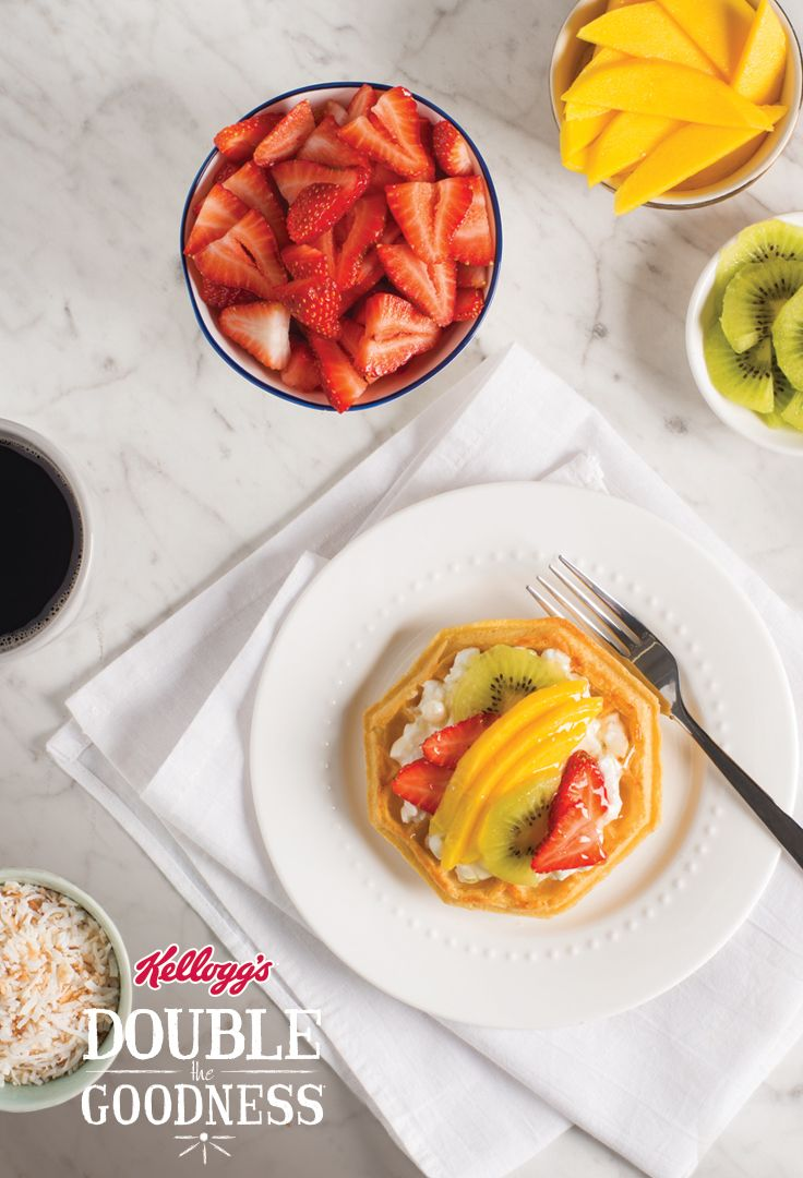 TROPICAL KIWI, MANGO AND COCONUT WAFFLES _____ 4 Eggo® Waffles + cottage cheese + honey + lime zest + mango + strawberries + kiwi + toasted coconut flakes