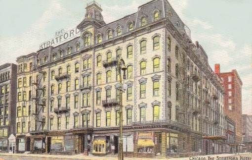 POSTCARD - CHICAGO - STRATFORD HOTEL - MICHIGAN AVE - CORNER VIEW - NICE VERSION - 1910