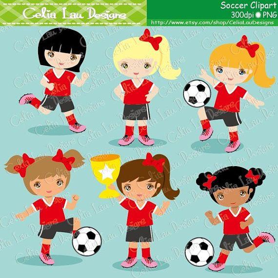 Soccer Girl Clipart Football Girl Digital Clipart Soccer Etsy Soccer Girl Clip Art Football Girls