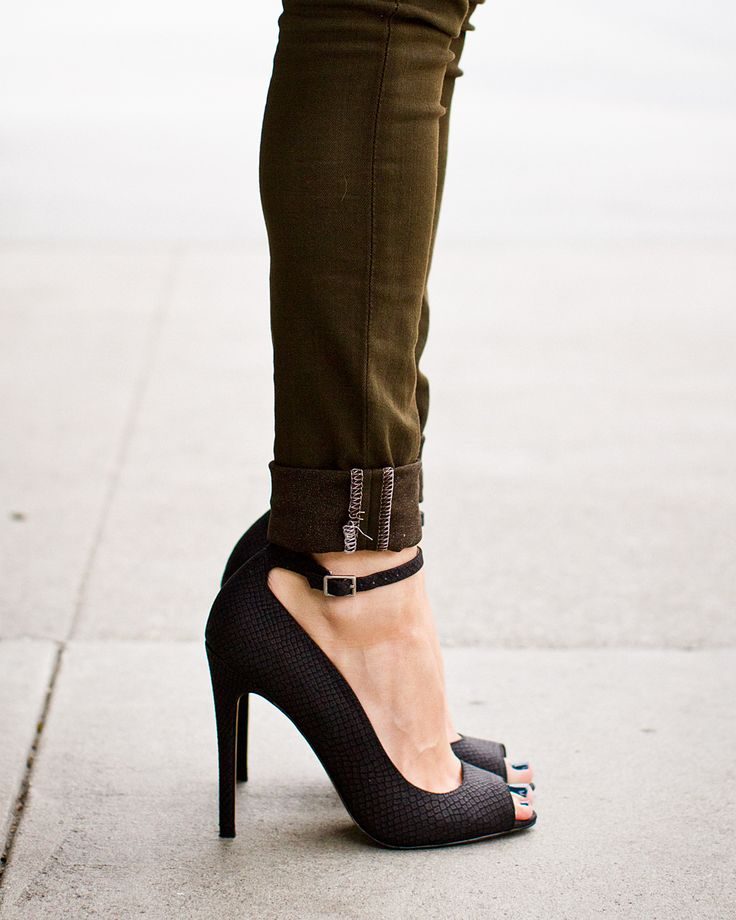 peep toe heel with ankle strap + olive green slim jeans