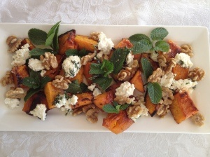 Pumpkin Roasted with Chilli & Honey served with Mint, Fetta & Walnuts