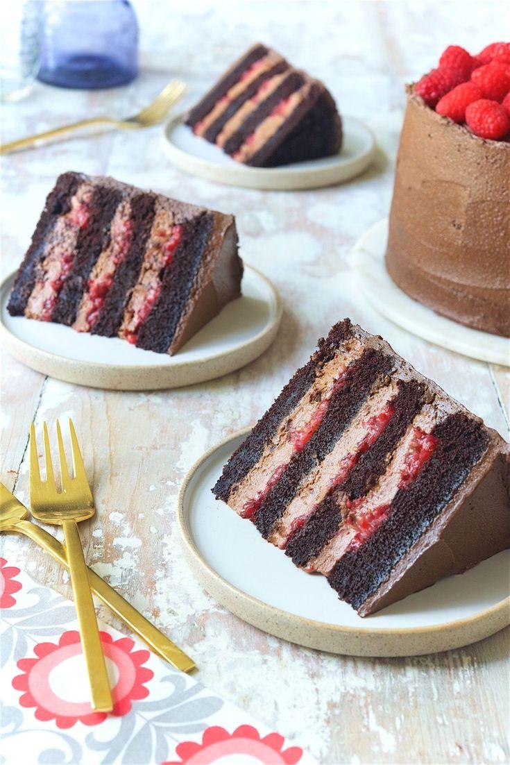 Chocolate Mousse Cake with Raspberries Bakealong via @kingarthurflour   KING ARTHUR FLOUR