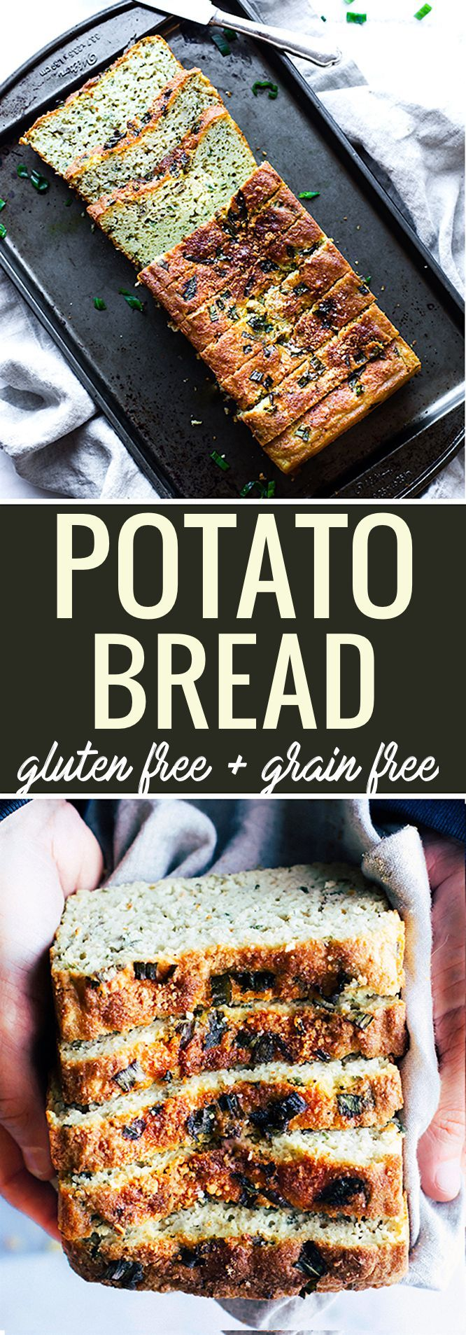 Easy Homemade Gluten Free Potato Bread with onion and herbs! This grain free and gluten free potato bread is simple to make, healthy, and delicious! A great way to use up any lefotver baked or mashed potatoes too. A homemade potato bread that hearty and f