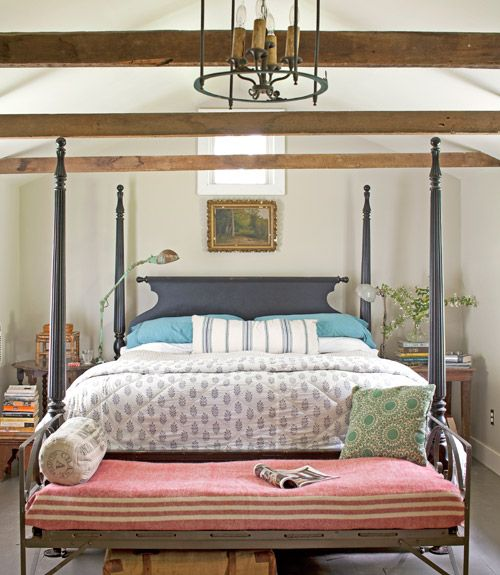 Inside An Ohio Farmhouse Rustic Bedrooms Poster Beds And Exposed Beams