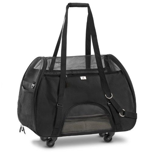 Airline Approved Pet Carrier - Black Travel Carrier with Wheels and Soft Sides For Small Pets- New Structural Design .Approved By American Jet Blue & Southwest Airlines by WPS Pet supplies