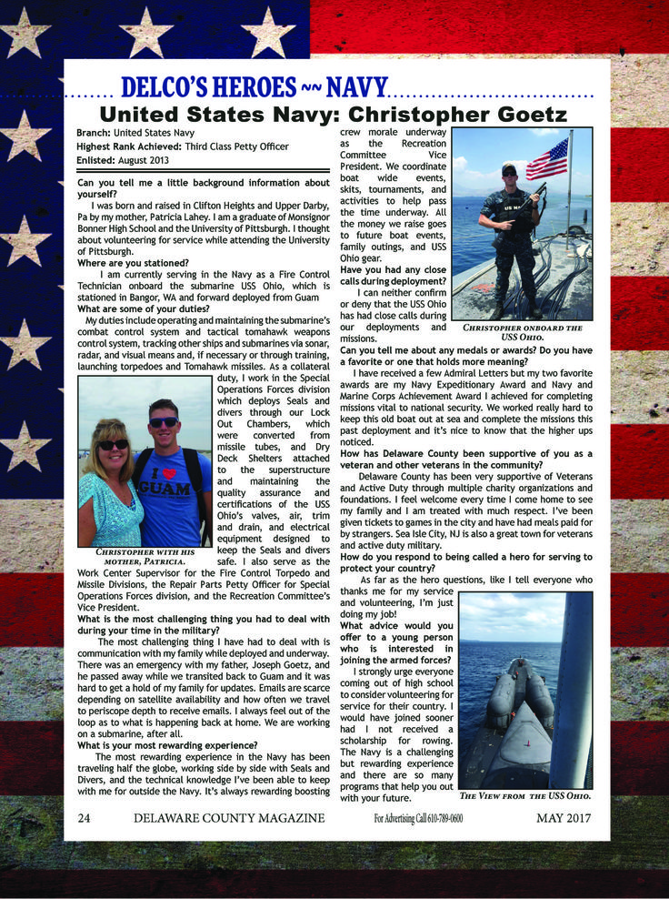 Read about Christopher Goetz who is currently serving in the US Navy! #DelawareCountyPA #Navy #Hero