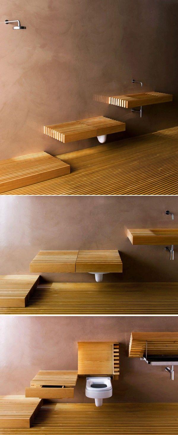 Tampa para camuflar vaso sanitário, fica igual banco ao lado, para banheiro integrado ao quarto.