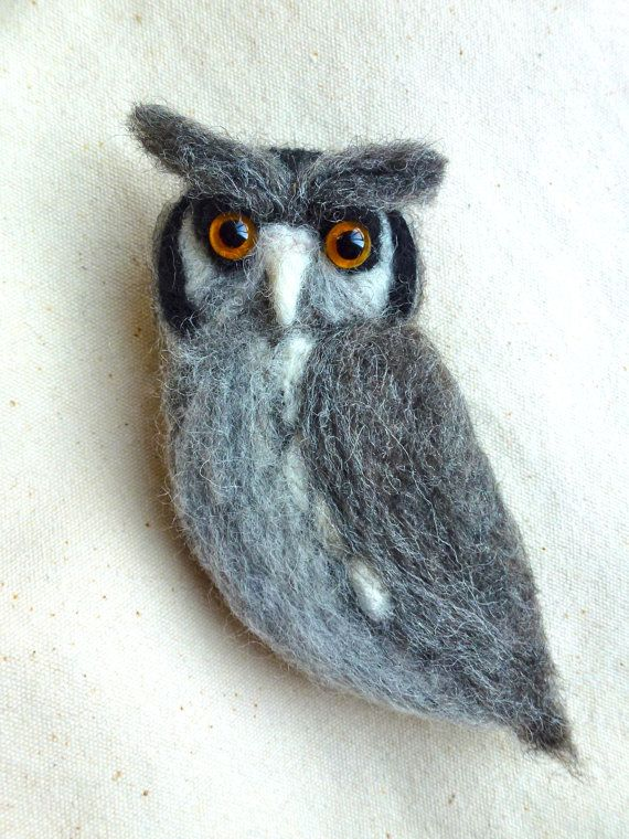 Needle felted owl brooch by CatsX on Etsy