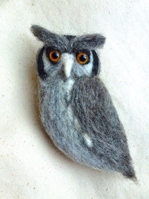 Needle felted owl brooch