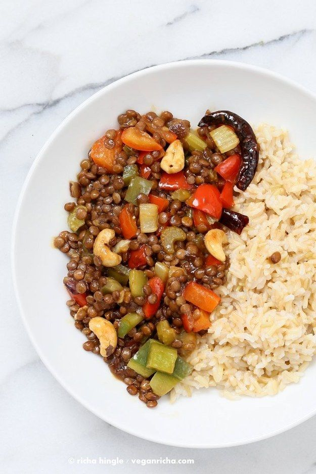 Kung Pao Lentils | 25 Meat-Free Clean Eating Recipes That Are Actually Delicious