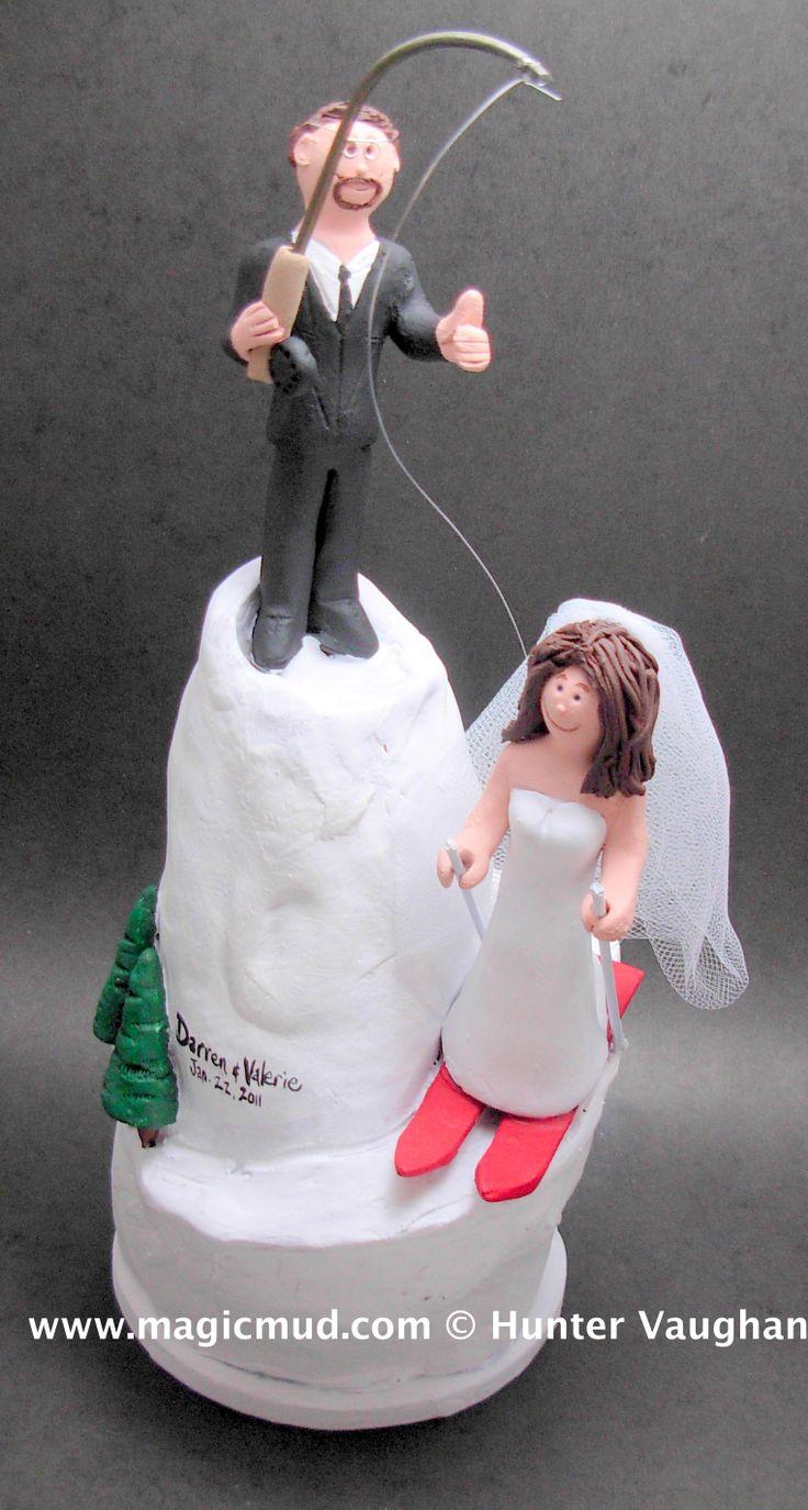 Skiing Bride with Fishing Groom Wedding Cake Topper http://www.magicmud.com   1 800 231 9814  magicmud@magicmud.com $235  https://twitter.com/caketoppers         https://www.facebook.com/PersonalizedWeddingCakeToppers   #wedding #cake #toppers #custom #personalized #Groom #bride #anniversary #birthday#weddingcaketoppers#cake-toppers#figurine#gift#wedding-cake-toppers #ski#skiing#snowBoard#snowboarding#downhillSki#skihill